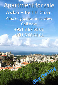 Apartment in Awkar for sale, amazing panoramic views