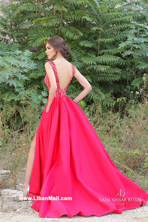 Red evening dress with bare back by Nada Nassar Bassim Haute Couture 2017