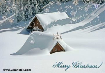 Free christmas ecard from lebanon, free greeting cards, free seasons greetings card, happy holidays card, merry christmas card, snow covered wooden houses, snow background