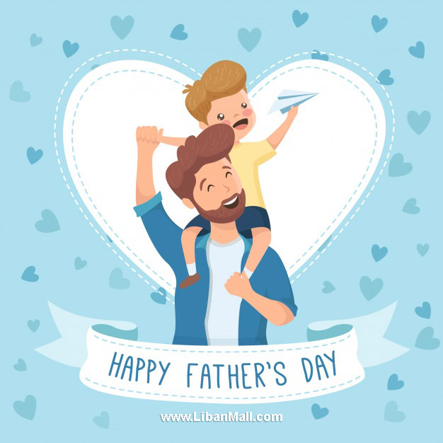 Father carrying son with white heart fathers day card